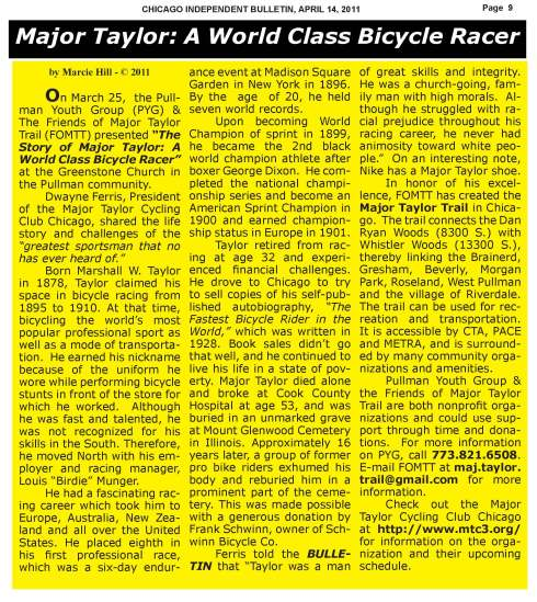 Major Taylor - Chicago Independent Bulletin